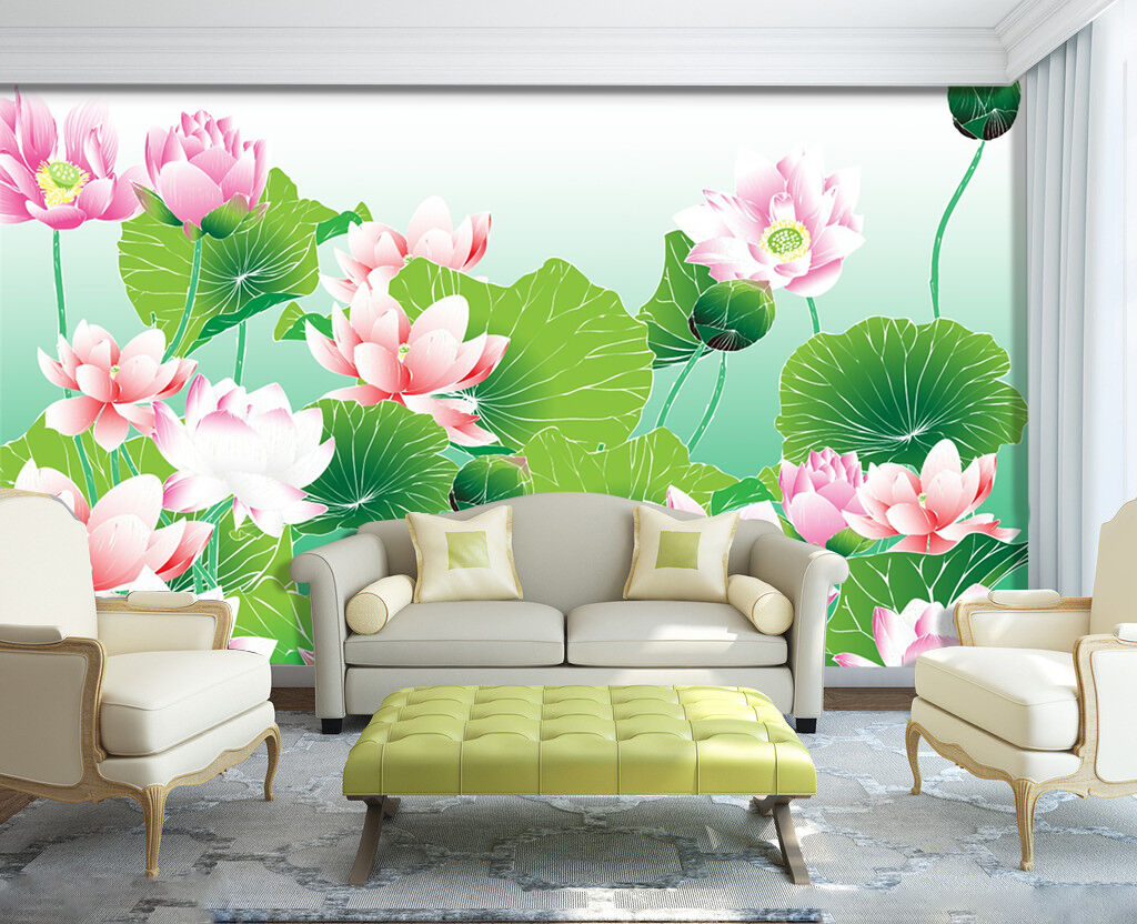 3D Lotus, lotus leaf 667 Wall Paper Print Wall Decal Deco Indoor Wall Murals