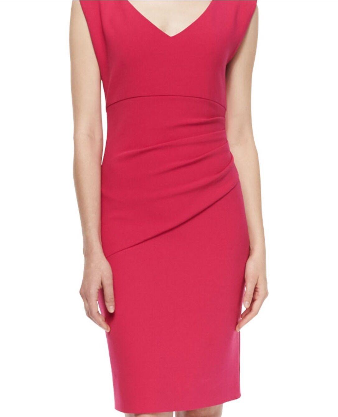 Nanette Lepore Dress Side Ruched Wrap Front Plunge Neck 4 rot Knee Length