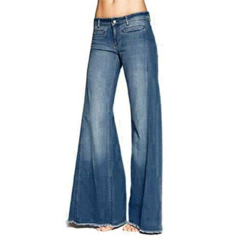 Womens Denim Flared High Waist Wide Leg Pants Bell Bottom Jeans Trousers Casual