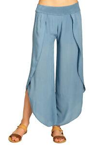 Caspar Khs047 Elegante Para Mujeres Palazzo Pantalones Pantalones De Verano Haren Aladin Viscosa Ebay