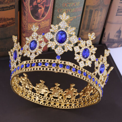 Luxury 5 Colors Wedding Crystal Large King Queen Crown Prom Party Pageant