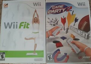 Wii Fit & bonus game party 2 Nintendo Wii Complete w/ Manual - Tested used
