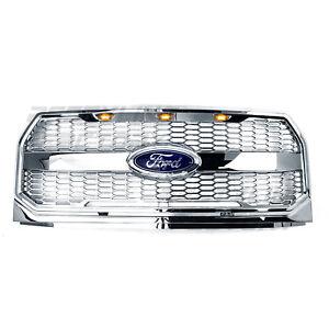 15-17-Ford-F150-Raptor-Conversion-Chrome-Mesh-Grille-w-Emblem-Housing-Amber-LED