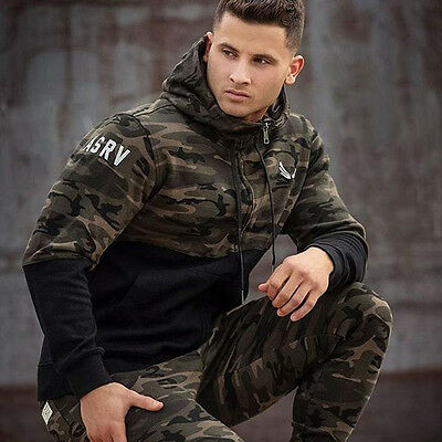 Fashion Camo Print Men Sports Sweater Long-sleeved Autumn Zipper Hooded Clothes