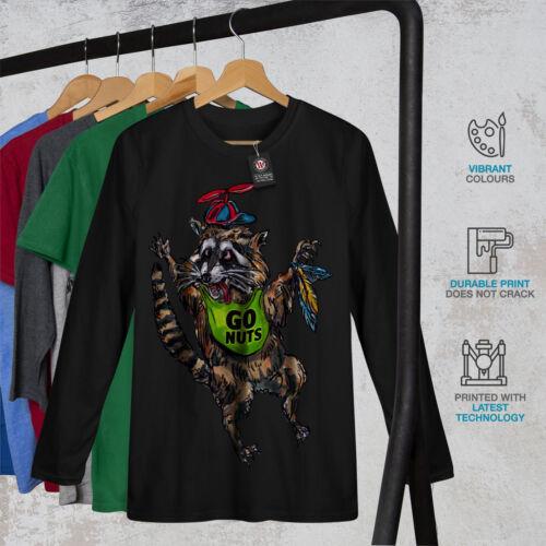Wellcoda Funny Raccoon Cute Mens Long Sleeve T-shirt Animal Graphic Design