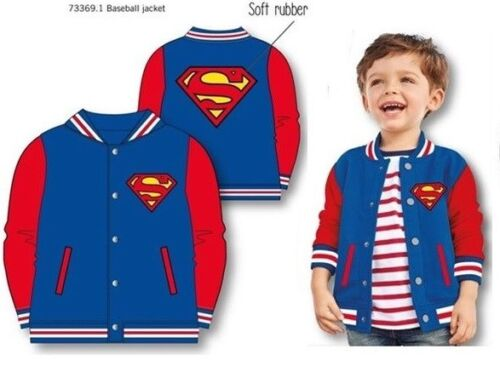 DC Comics Official Kids Baseball Jacket Coat Batman Or Superman Sizes 2-7 Years