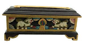 Fat-Burner-Holder-Incense-Tibetan-28cm-Censer-Wood-Lion-of-Snow-Tibet-Nepal-5706