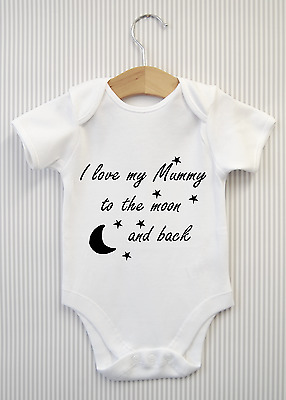 PERSONALISED I Love you to the moon /& back DADDY MUMMY NANNY  BABY VEST GIFT