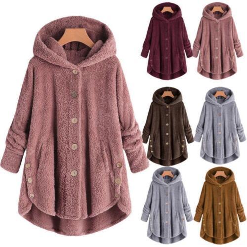 Winter Solid Fluffy Coat Overcoat Button Jacket Tops Outwear Loose Women Sweater