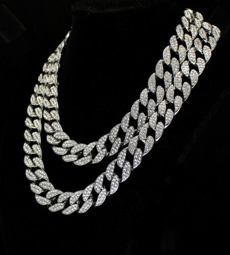 "2pc Choker Chain Set Cuban Links 14k White Gold Plated 16/"" 18/"" Necklaces Hip Hop"