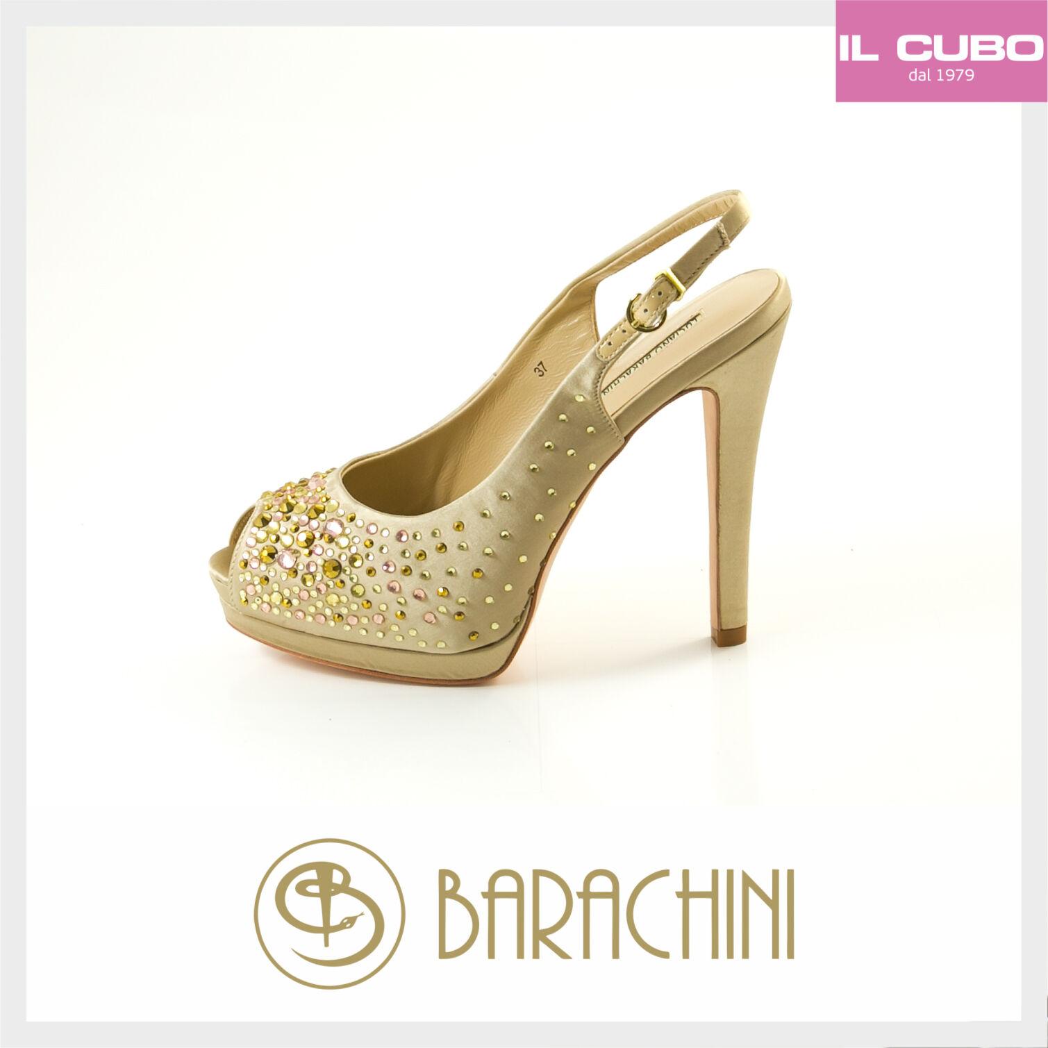 LUCIANO BARACHINI SANDALO SPUNTATO Damens COLORE CHAMPAGNE TACCO H 12 CM  ITALY