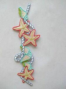 4211-6-3-4-034-H-Starfish-Conch-w-Rope-Embroidery-Iron-On-Applique-Patch