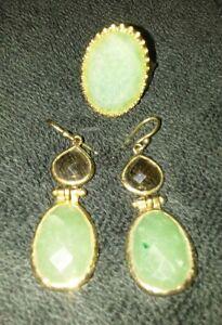 Set-2PC-Vermeil-Gold-Silver-Adventurine-amp-Smokey-Quartz-Earrings-W-Matching-Ring