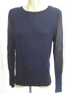 Details about rag & bone Navy Blue and Black Pullover Sheer Sides Wool Rayon SP Sale!!