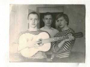 1970s young men play guitar group portrait fashion Russian Vintage photo b