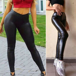 Legging paillettes SEQUIN  RED  Rouge et simili Cuir
