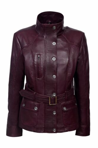 New Ladies Cherry Plum Slim Fit Soft Leather Jacket Casual Military Collar Rock