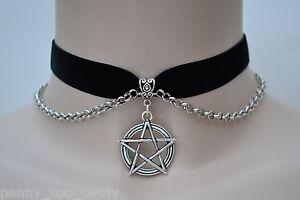 PENTAGRAM-STAR-CHARM-CHAIN-Velvet-BLACK-16mm-Ribbon-Choker-Pagan-Wicca-sg
