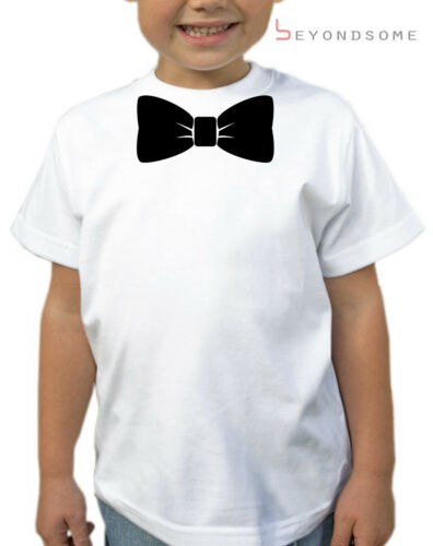 BOYS BOW TIE KIDS T-SHIRT T SHIRT FUN GIFT PRESENT VARIOUS SIZES AGES 1-12