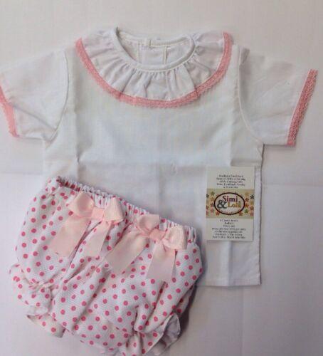 Filles de Style espagnol ROM 2 pièces Blouse /& Bow Jam ensemble pantalon rose /& blanc