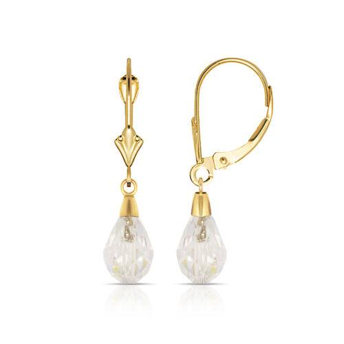 White Topaz 14K Solid Yellow Gold Tear Drop Shaped Dangle Leverback Earrings