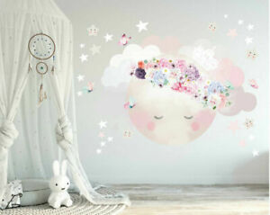 Large Sleeping Moon Wall Stickers Nursery Decor Girls Room Decal Art Mural Gift