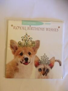 Image Is Loading Royal Birthday Wishes Corgi Dog Amp Siamese Cat