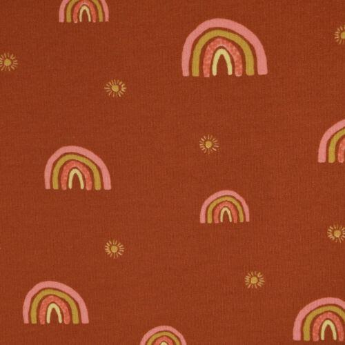 Bio Sweatstoff Soft Sweat GOTS Regenbogen Sonne rost bunt 1,5m Breite