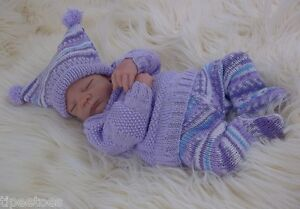 Baby-Knitting-Pattern-DK-55-TO-KNIT-Girls-Reborn-Dolls-Sweater-Leggings-Hat