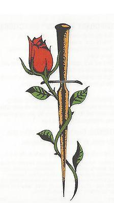RED ROSE & DAGGER Temporary Tattoo