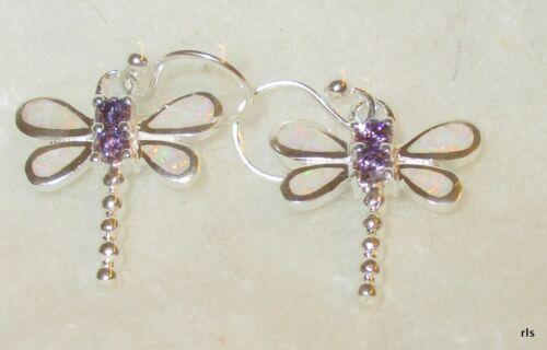 Classy Genuine 925 Sterling Silver REAL White Opal Dragonfly Dangle Earrings