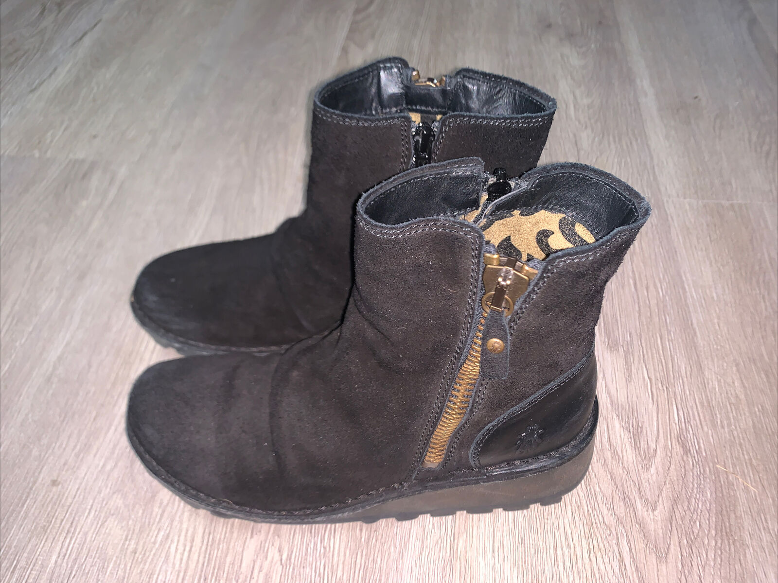 Fly London Mon Diesel Black Suede Zippered Ankle Boots Women's 38