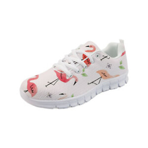 Women Tennis Running Trainers Flamingo Print Comfy Breath Lace Up Sneakers Shoes