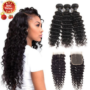 8A-Peruvian-Human-Hair-3-Bundles-With-4-4-Lace-Closure-Deep-Wave-Hair-Extensions