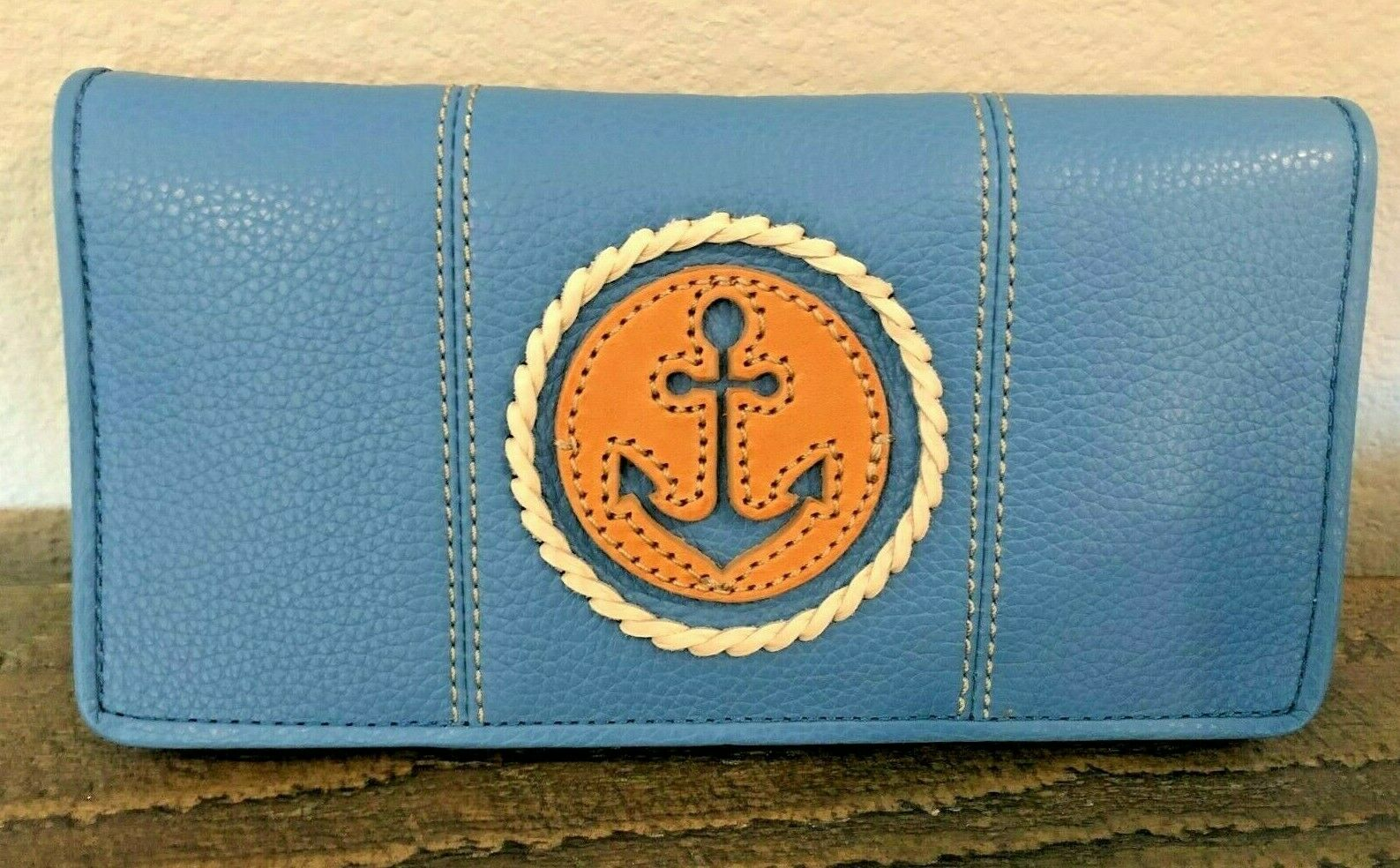 NWT Brighton BLUE WATER SLIM WALLET Leather Anchor Nautical MSRP