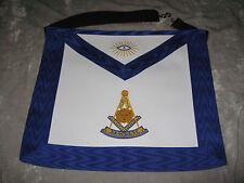 White Blue Trim Masonic Past Master Apron Freemason Leather Style NEW!