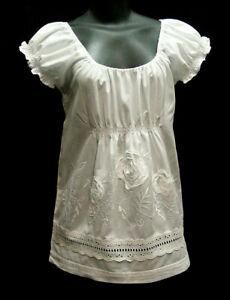 Victorian-Edwardian-Ren-Faire-Camisole-Peasant-Blouse-White-Cotton-SIze-S-XL