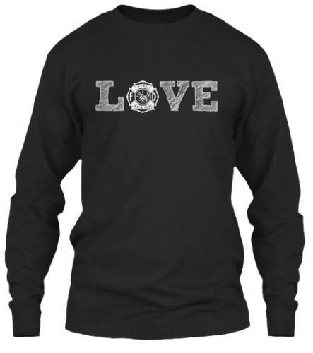 Daughter Love Gildan Long Sleeve Tee T-Shirt Firefighter Wife