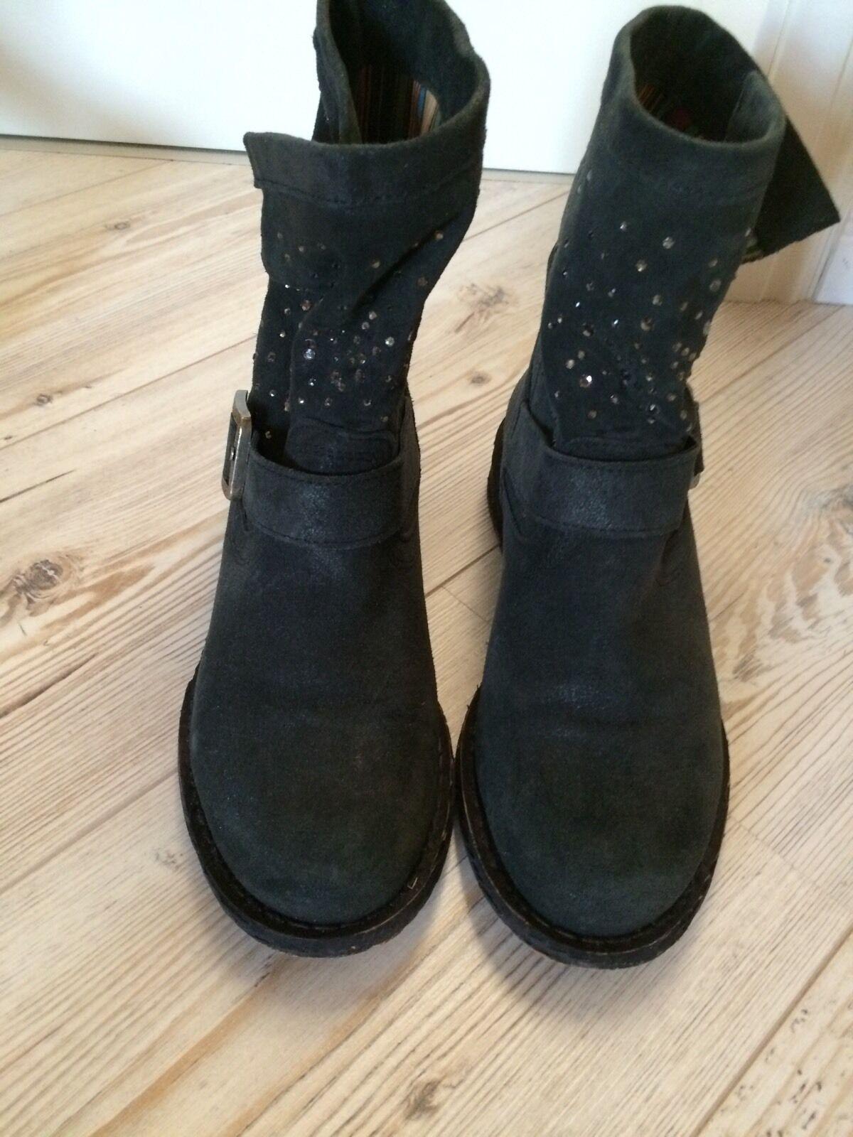 FELMINI  Boots / Stiefelette, dunkelgrau,  Wildleder mit Strass, Gr. 38. NEU!