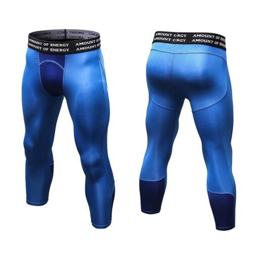 Mens Compression 3//4 Pants Running Jogger Capri Tights Basketball Gym Baselayer