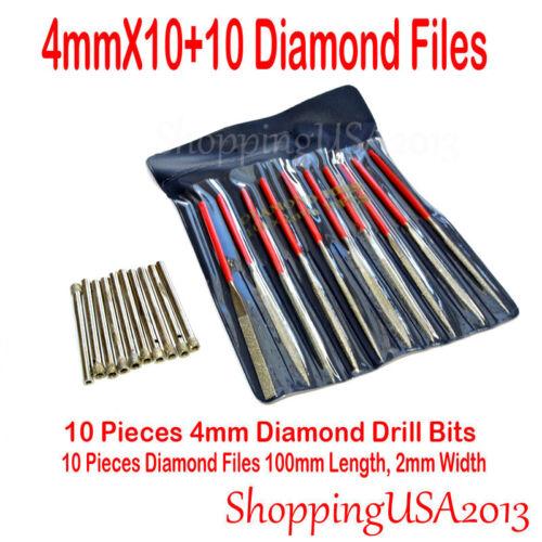 10X 4mm diamond coated drill bit set hole saw Cutter /& 10X diamond file glass