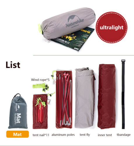 Naturehike Cloud Up 1//2//3 Person Waterproof Ultralight Camping Double layer Tent