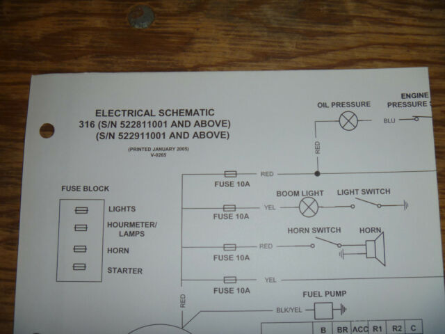 Bobcat 316 Excavator Electrical Wiring Diagram Schematic