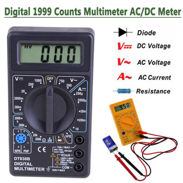 DT-830B LCD Digital 1999 Multimeter AC/DC 750/1000V Amp Volt Ohm Tester Meter