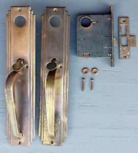 Details About Antique Vintage Deco Brass Exterior Entry Door Lockset Handle  Pull Plate Lock