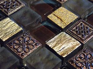 Schiefer Effekt Mosaik Fliesen Glas Naturstein Gold Braun Mocca