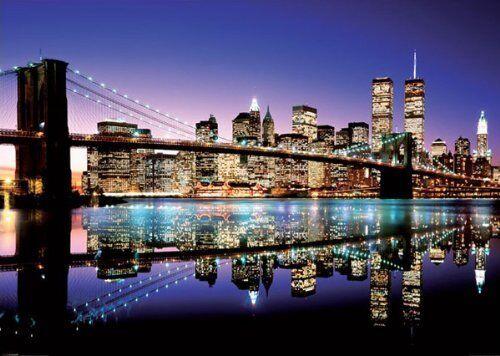 "Giant Brooklyn Bridge Skyline Art Poster Print  NYC New York City Dawn 55/"" x 39/"""