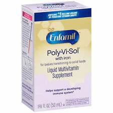 6 Pack Enfamil Poly-Vi-Sol Multivitamin Supplement Drops with Iron for Infants