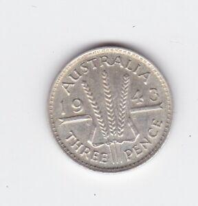 1943 Silver Threepence 3P Coin Australia F-199