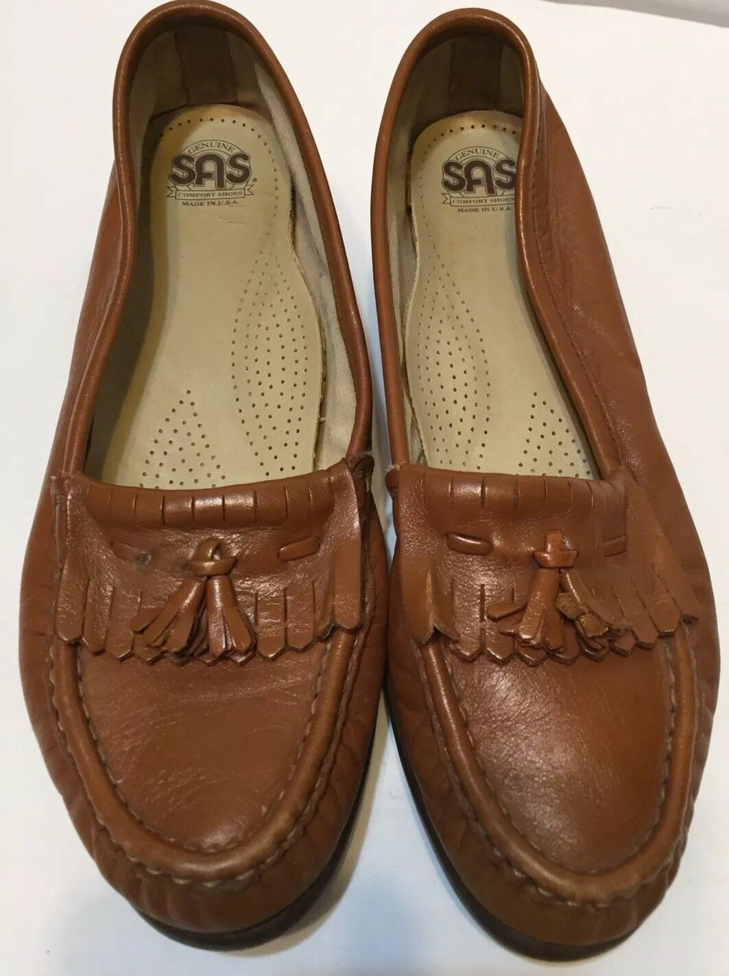 SAS Womens US 7N Lt Brn Leather Slip On Fringed Oxford Loafers Classic Comfort